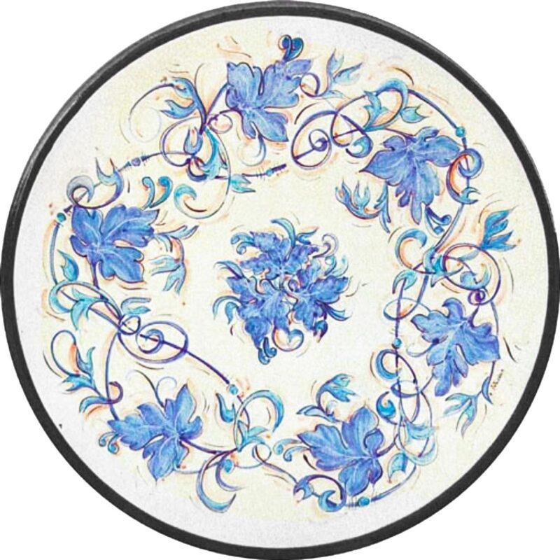 tavolo in pietra lavica dipinto a mano con decoro intreccio di foglie blu