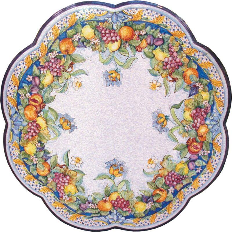 tavolo in pietra lavica smerlato con decoro le quattro stagioni