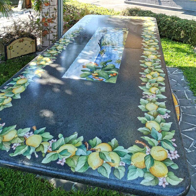 Tavolo in pietra lavica rettangolare con decoro Limoni ed Etna