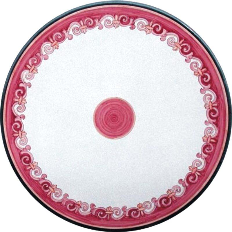 tavolo in pietra lavica con decoro onde rosa in stile motta camastra
