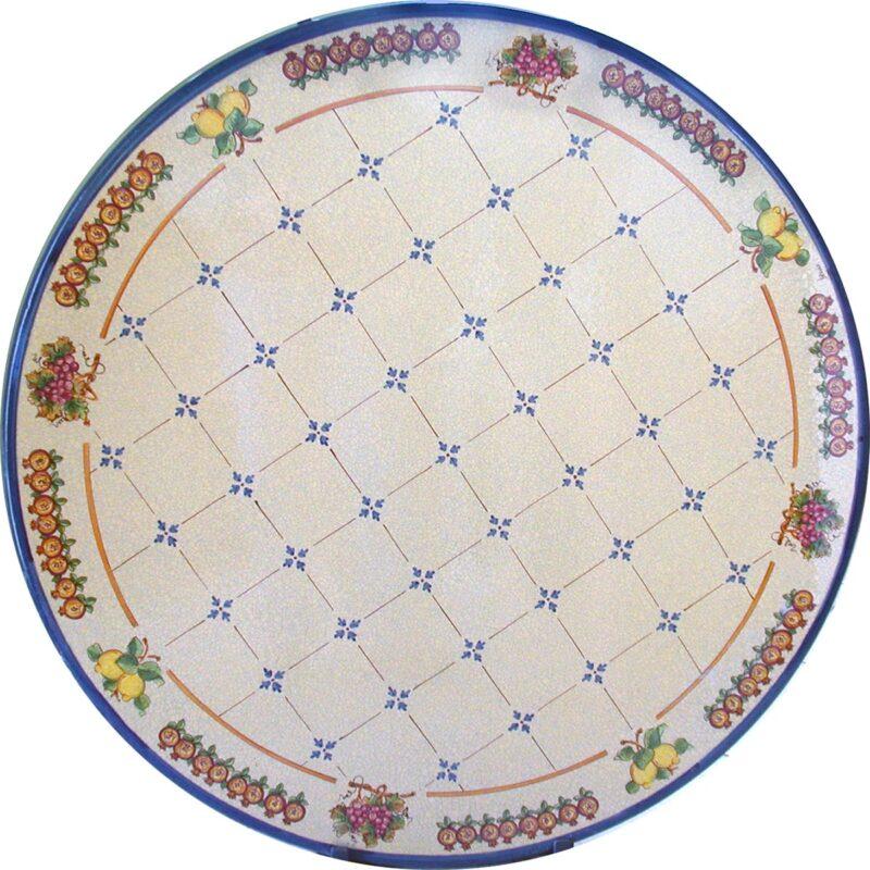 tavolo in pietra lavica con decoro principessa