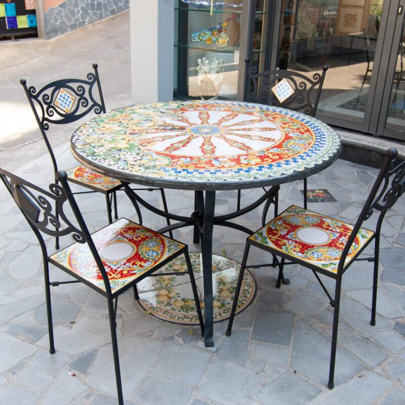tavolo in pietra lavica carretto Siciliano