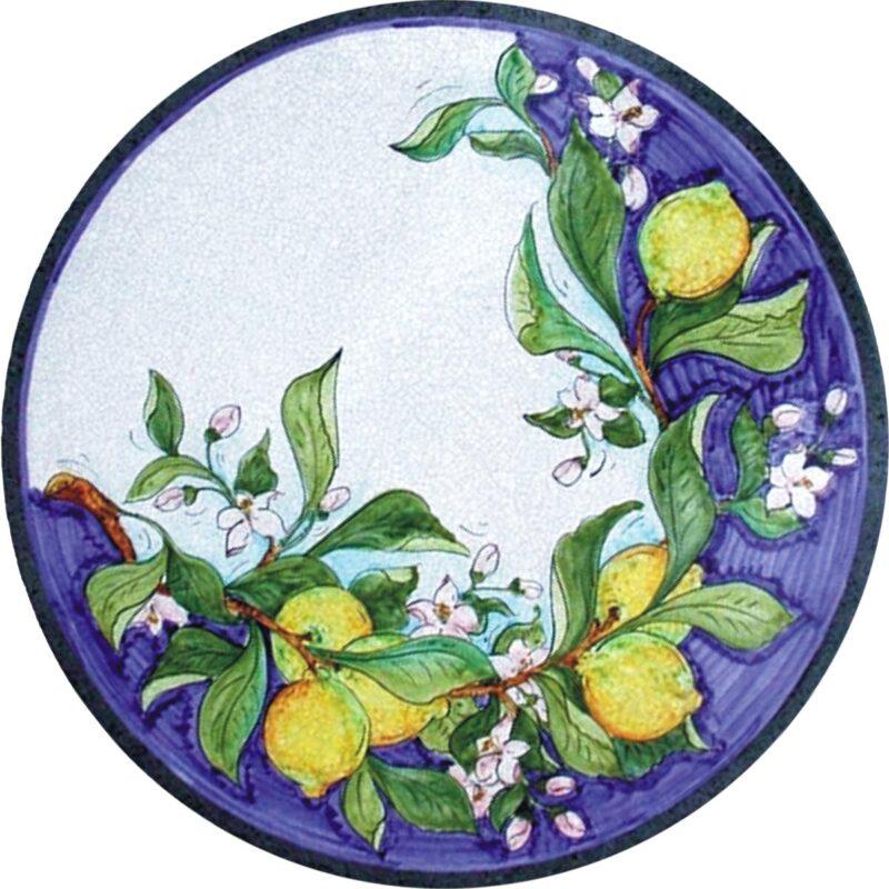tavolo in pietra lavica decorato a mano, decoro limoni