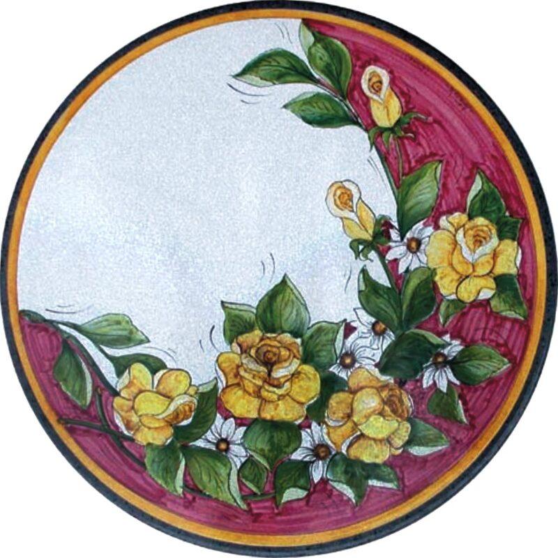 Tavolo di pietra lavica con decoro ramo di rose gialle