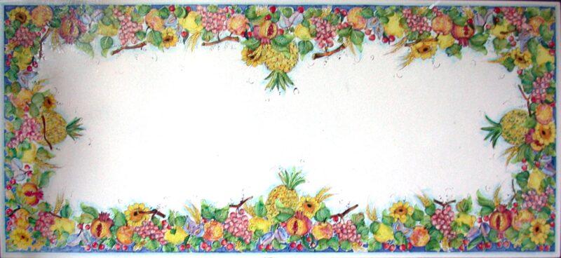 Tavolo in pietra lavica decorato a mano, decoro Dedra