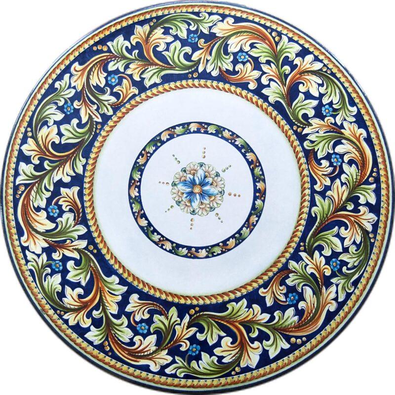 tavolo rotondo in pietra lavica con decoro atena dipinto a mano