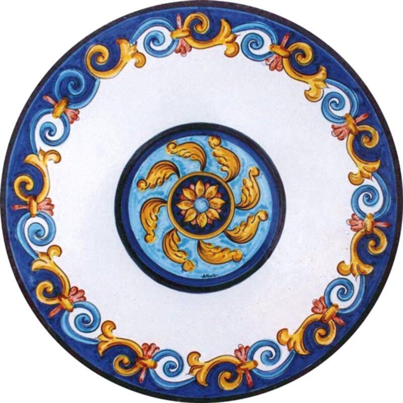 tavolo in pietra lavica con decoro caltagirone