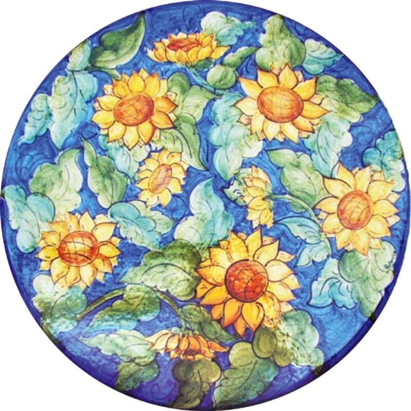 tavolo in pietra lavica rotondo con decoro campo di girasoli decorato a mano