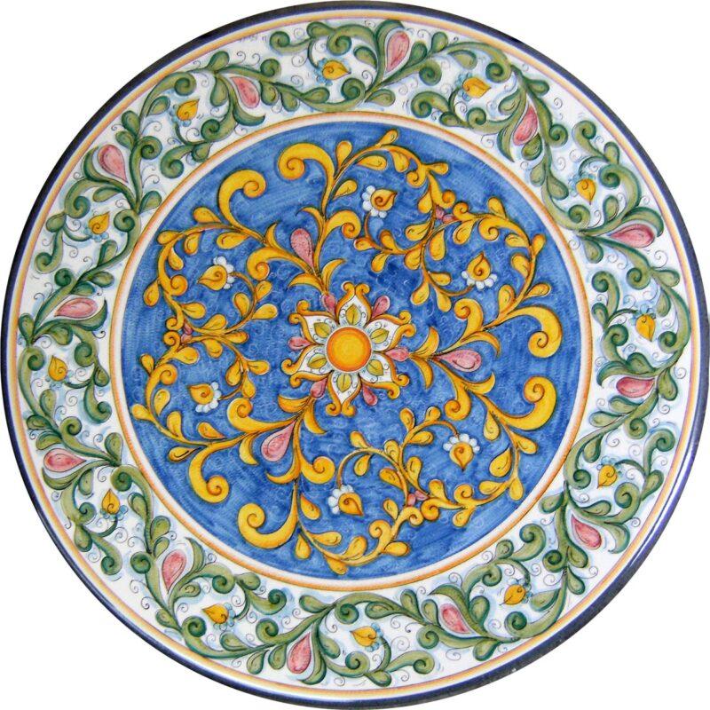 tavolo in pietra lavica rotondo con decoro classico, dipinto a mano
