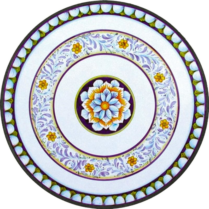 tavolo in pietra lavica rotondo con decoro daisy