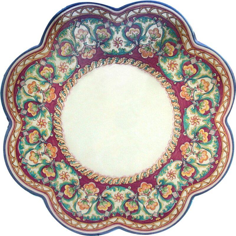 tavolo in pietra lavica rotondo decorato a mano, decoro egeria