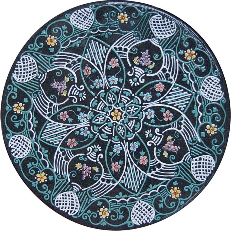 tavolo in pietra lavica dipinto a mano con decoro fiore notturno