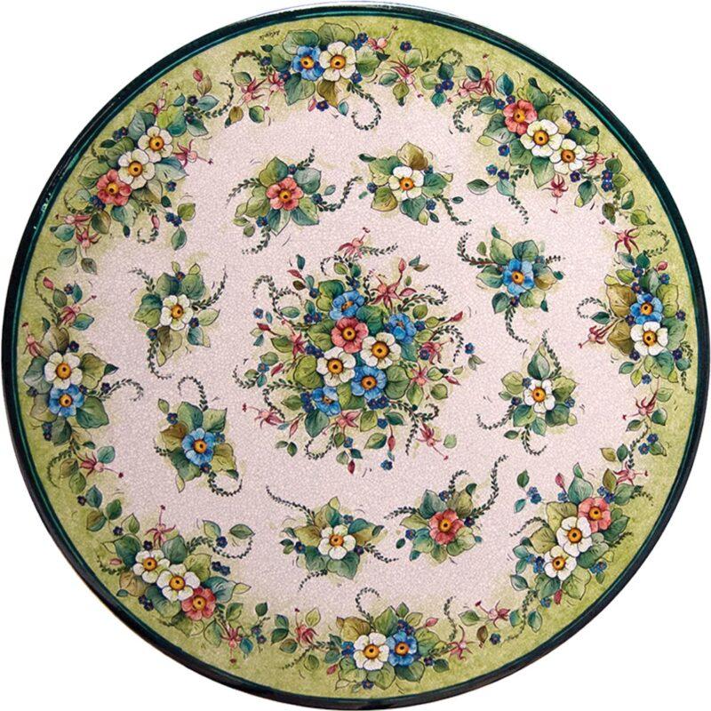 tavolo in pietra lavica rotondo con decoro floreale dipinto a mano