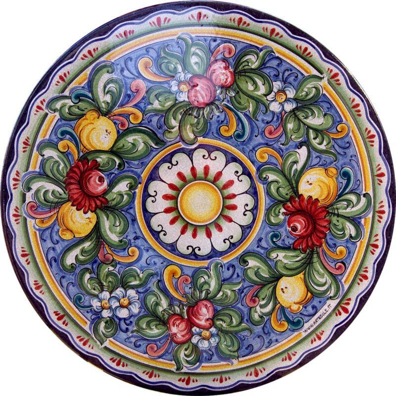 tavolo in pietra lavica rotondo con decoro fiori e limoni decorato a mano