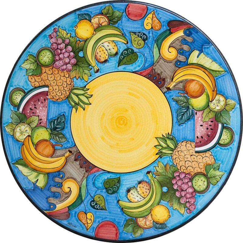 tavolo in pietra lavica rotondo con decoro frutta d estate, dipinto a mano