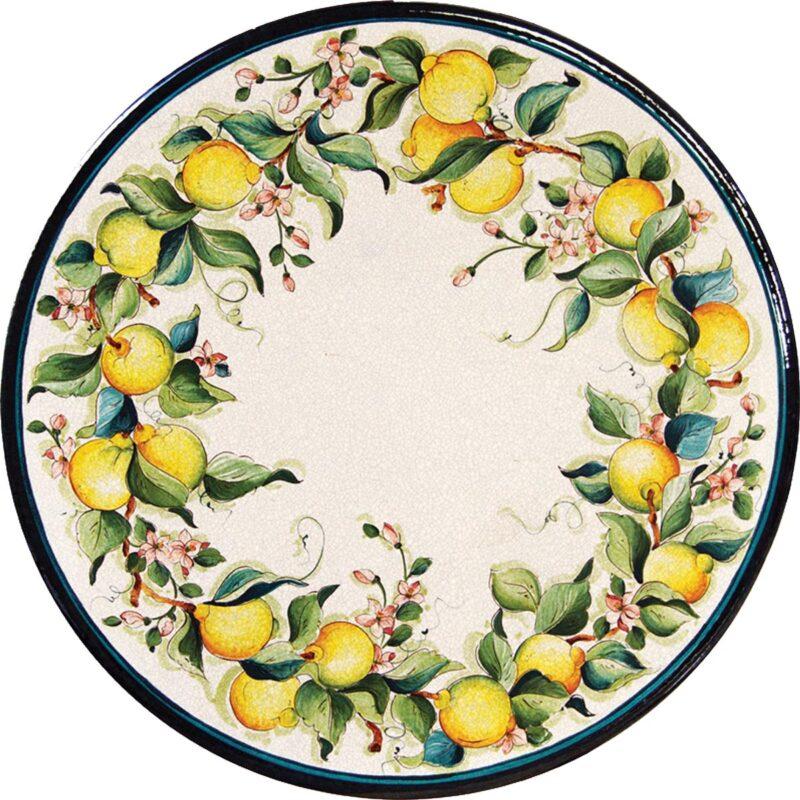tavolo in pietra lavica rotondo con decoro giro di limoni 2 decorato a mano