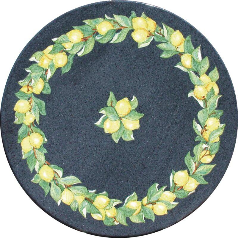 tavolo in Pietra lavica rotondo con decoro lava e limoni