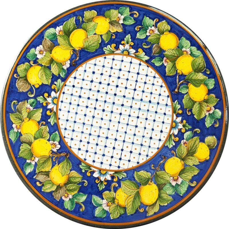 tavolo in pietra lavica con decoro limoni dipinto a mano