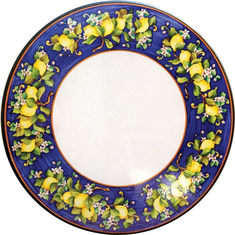 tavolo in pietra lavica rotondo con decoro limoni in festa dipinto a mano