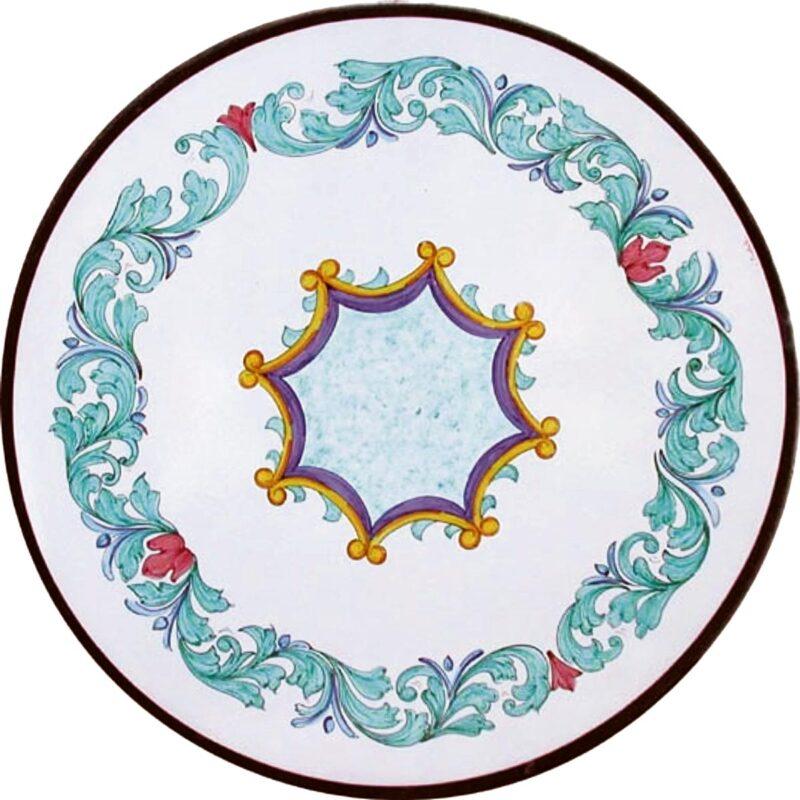tavolo rotondo in pietra lavica decorato a mano con decoro luna
