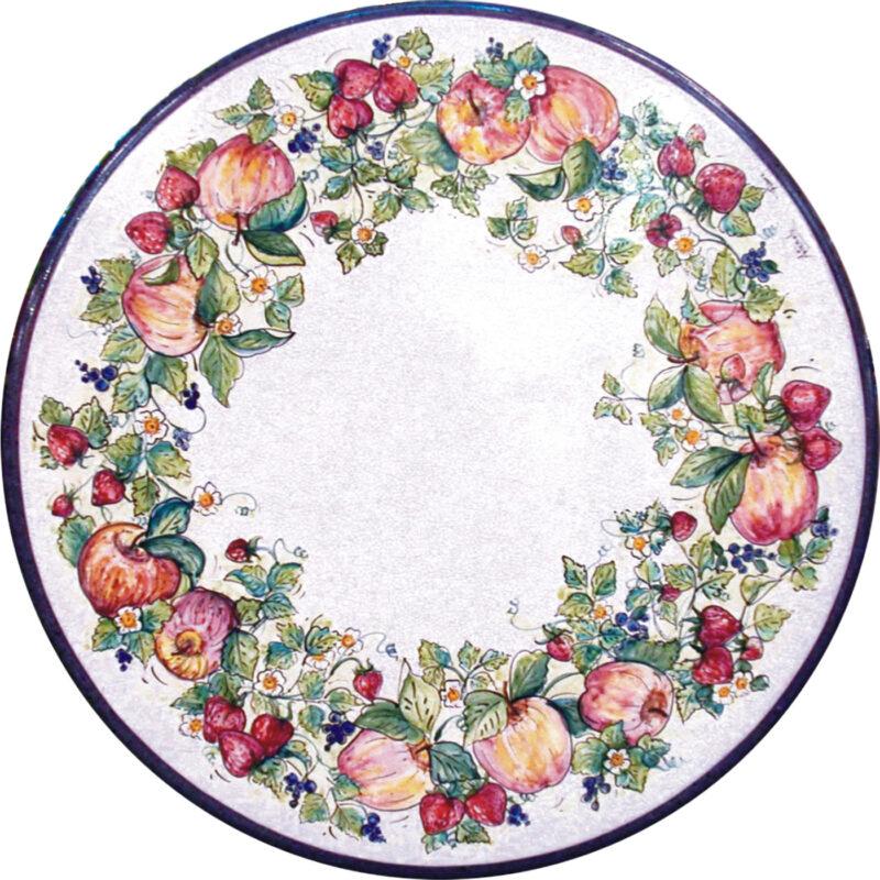 tavolo in pietra lavica rotondo con decoro melania, mele, fragole