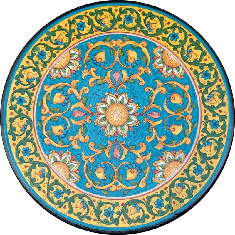 tavolo in pietra lavica rotondo con decoro new day dipinto a mano