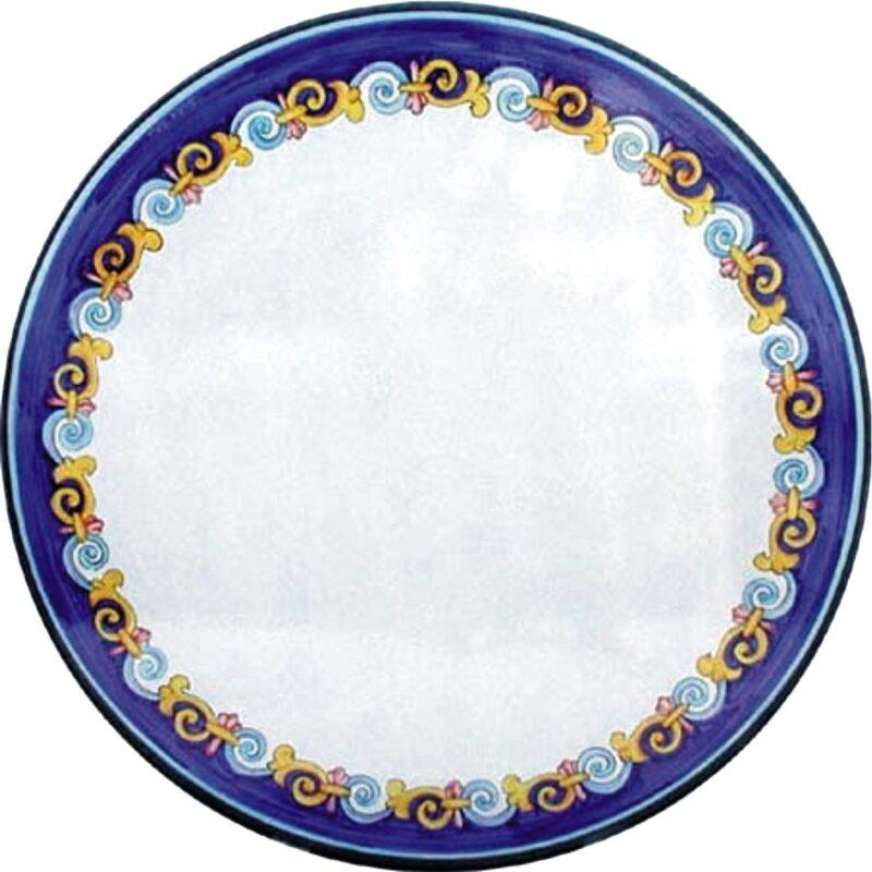 tavolo in pietra lavica rotondo con decoro onde blu dipinto e decorato a mano