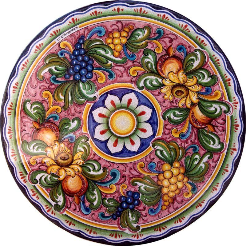 tavolo in pietra lavica con decoro uva girasoli e melograni, dipinto a mano