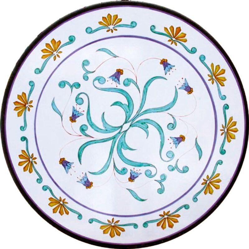 tavolo in pietra lavica decorato e dipinto a mano con decoro saturno