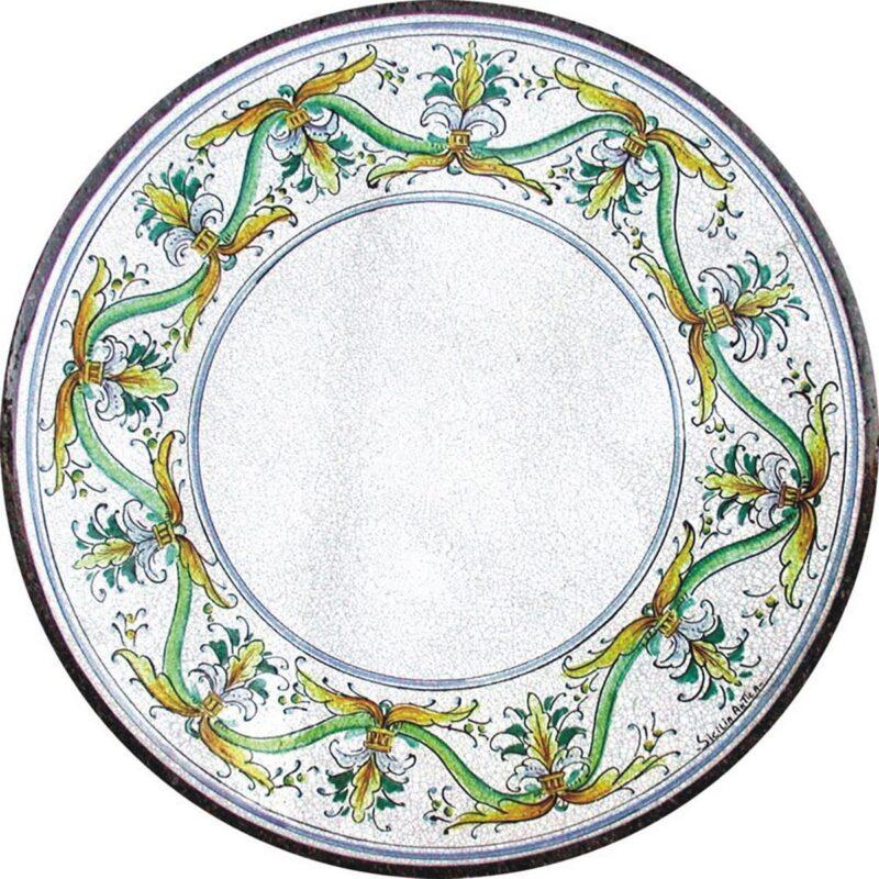 tavolo in pietra lavica dipinto a mano, decoro scilla