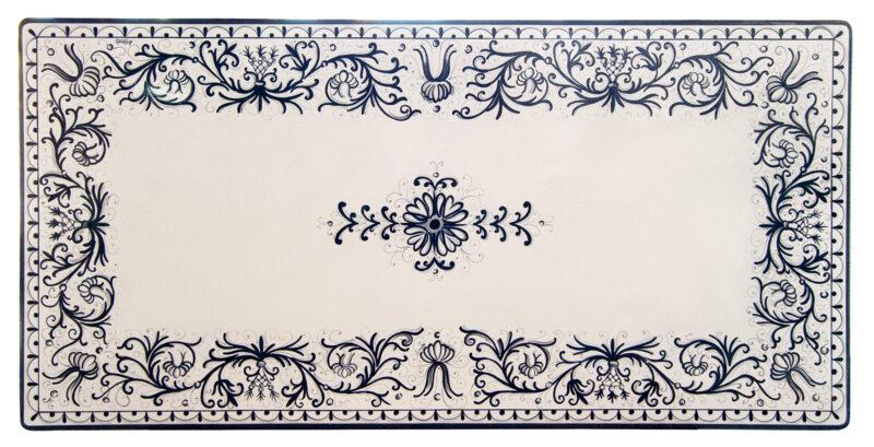 Tavolo in pietra lavica smaltata e decorata a mano