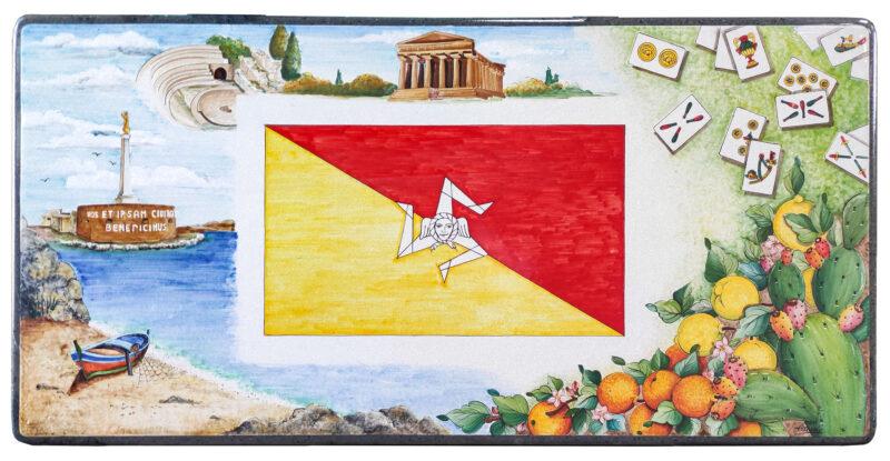Tavolo Trinacria con Messina, Agrigento, arance, limoni e carte siciliane