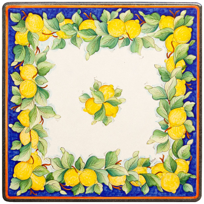 top in pietra lavica ceramizzata con decoro limoni dipinti a mano, tavolo da giardino