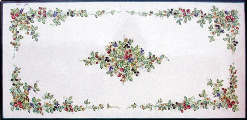 tavolo in pietra lavica rettangolare con decoro frutti di bosco decorato a mano