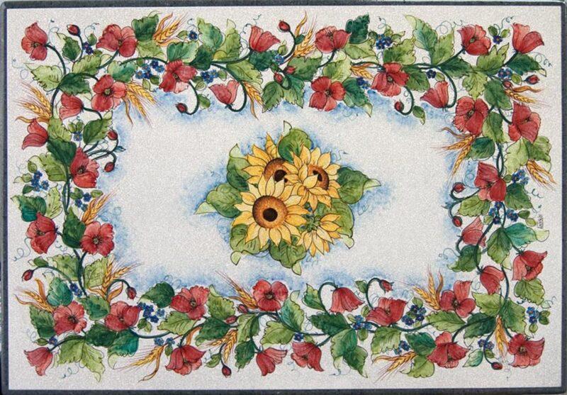 Tavolo rettangolare in pietra lavica con decoro papaveri dipinto a mano