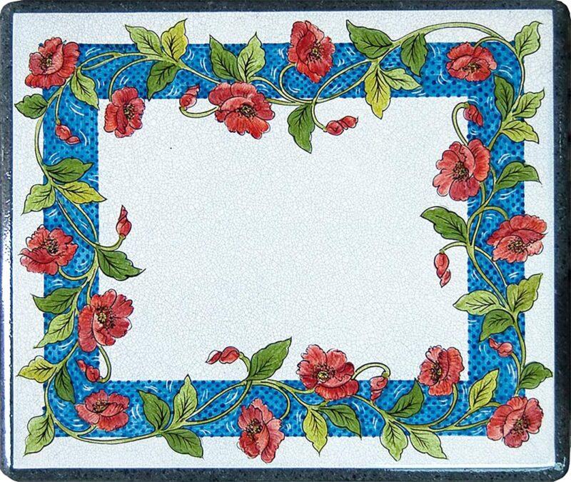 Tavolo rettangolare in pietra lavica con decoro floreale