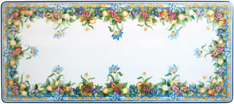 Tavolo in pietra lavica rettangolare decorato a mano