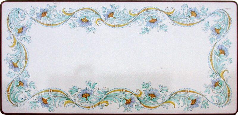 Tavolo in pietra lavica rettangolare dipinto a mano, decoro fiore azzurro