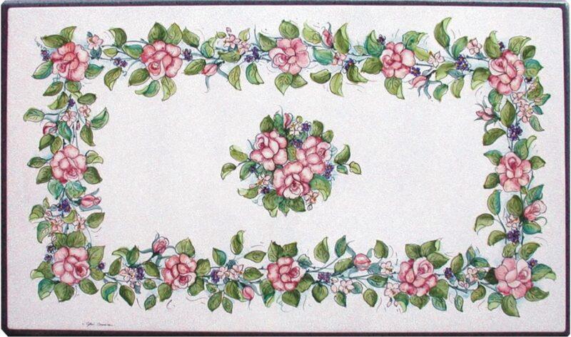 Tavolo in pietra lavica dipinto a mano con decorazione rose rosse