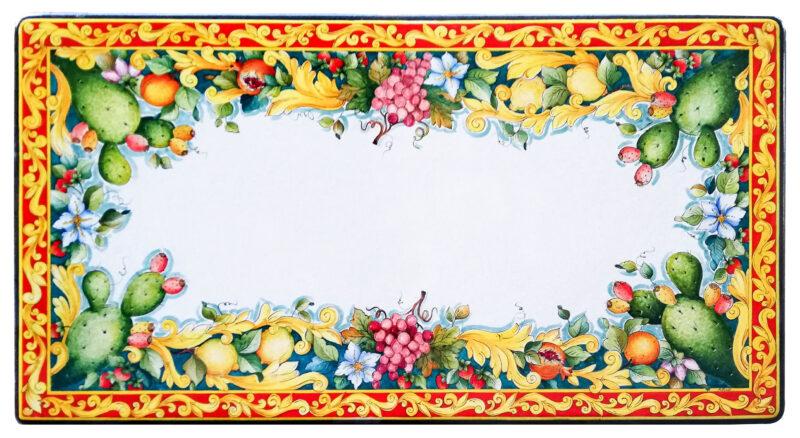 Tavolo in pietra lavica decorato a mano Decoro Siciliano