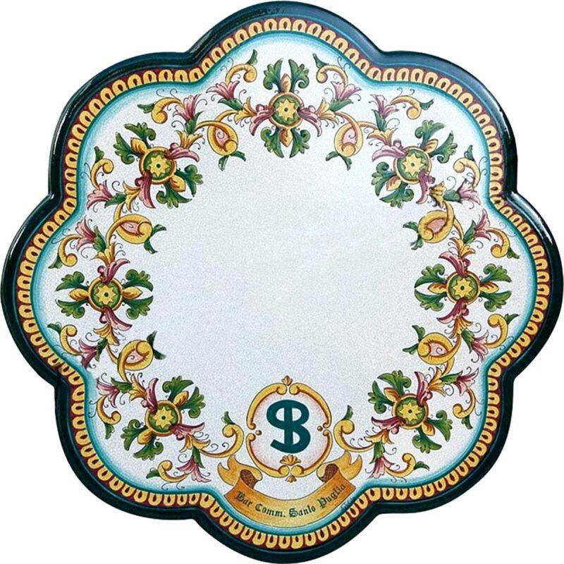tavolo in pietra lavica smerlato con logo personalizzato