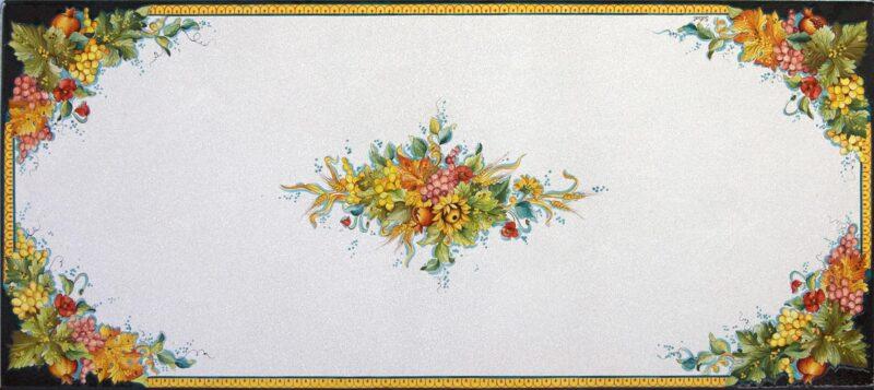 Tavolo rettangolare in pietra lavica dipinto a mano con uva gialla e rossa, girasoli, melograni e papaveri