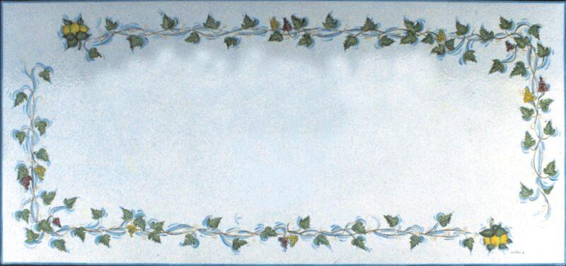 tavolo in pietra lavica rettangolare con decoro Venezia decorato a mano