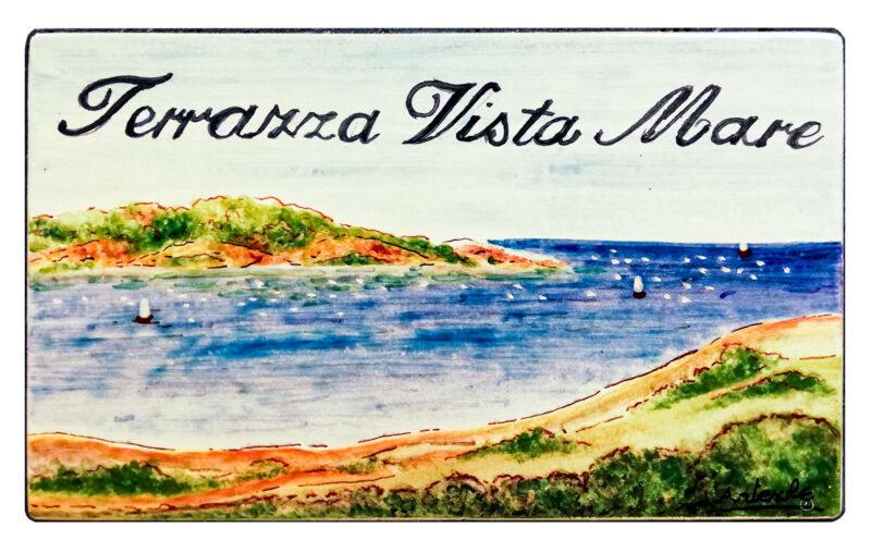 Pannello in Pietra Lavica con decoro Terrazza Vista Mare