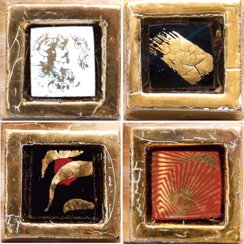 Tessere per mosaico in ceramica e pietra lavica con oro. Composizioni personalizzate