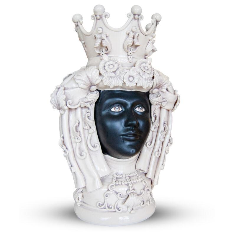 testa di moro donna bianca e nera con corona