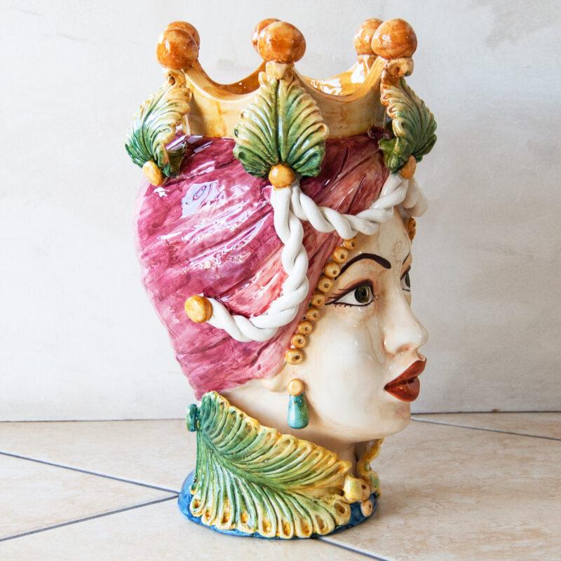 testa di moro donna in ceramica decorata a mano