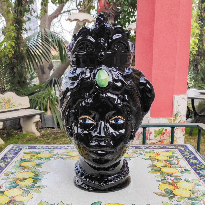 Testa di Moro in ceramica colore nero lucido
