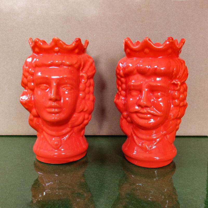 Teste di Moro in ceramica monocolore arancione