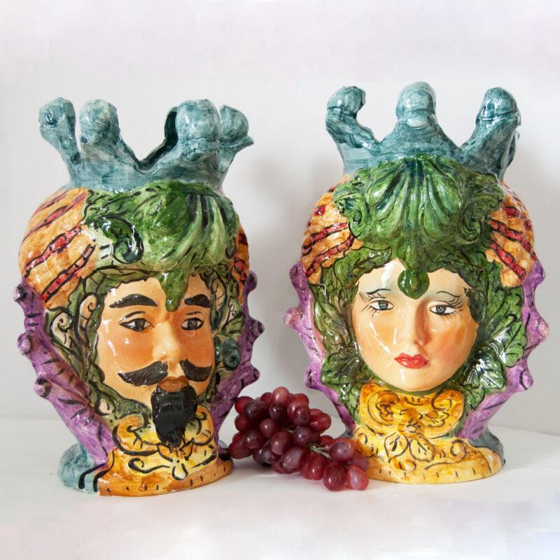 Teste di Moro decorate a mano in stile Caltagirone, Giarre